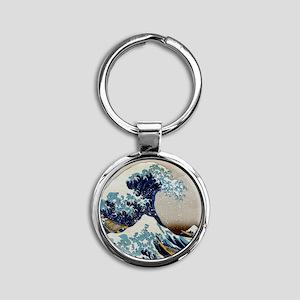Hokusai Round Keychain