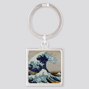 Hokusai Square Keychain