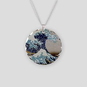 Hokusai Necklace Circle Charm