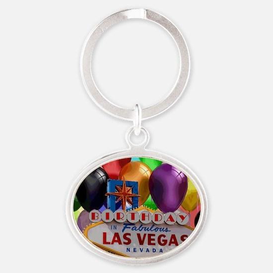 Birthday In Las Vegas Balloon Oval Keychain