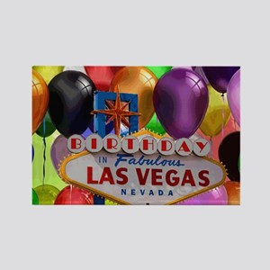 Birthday In Las Vegas Balloon Rectangle Magnet