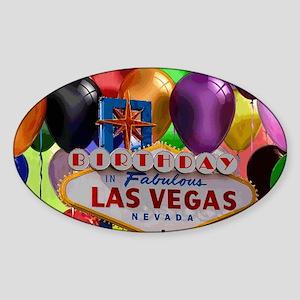 Birthday In Las Vegas Balloon Sticker (Oval)