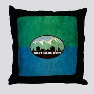 Vintage Salt Lake City Flag Throw Pillow