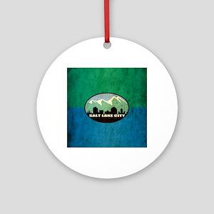 Vintage Salt Lake City Flag Round Ornament