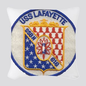 uss lafayette patch transparen Woven Throw Pillow