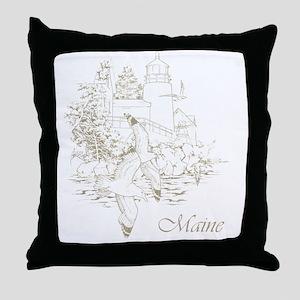 Maine Nubble Lighthouse Throw Pillow