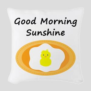 Good Morning Sunshine Chick Woven Throw Pillow
