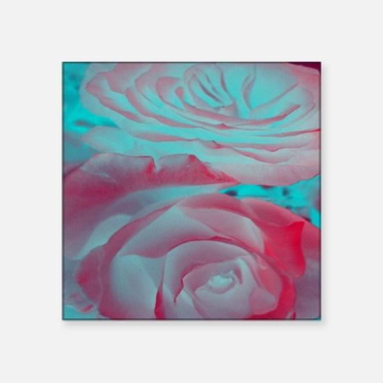"""Unique Rose Design Square Sticker 3"""" x 3"""""""