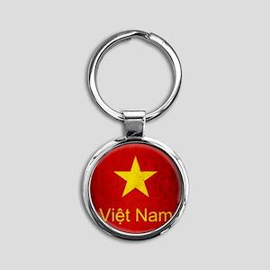 Grunge Vietnam Flag Round Keychain