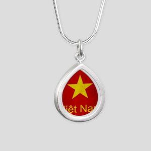 Grunge Vietnam Flag Silver Teardrop Necklace
