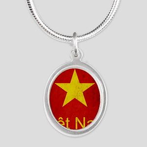 Grunge Vietnam Flag Silver Oval Necklace