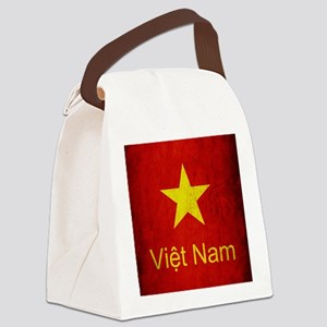 Grunge Vietnam Flag Canvas Lunch Bag