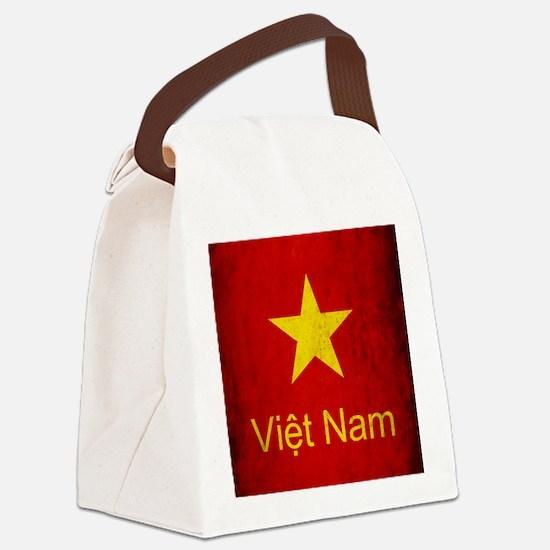 Grunge Vietnam Flag Canvas Lunch Bag