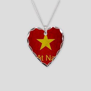 Grunge Vietnam Flag Necklace Heart Charm