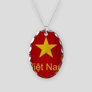 Grunge Vietnam Flag Necklace Oval Charm