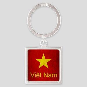 Grunge Vietnam Flag Square Keychain