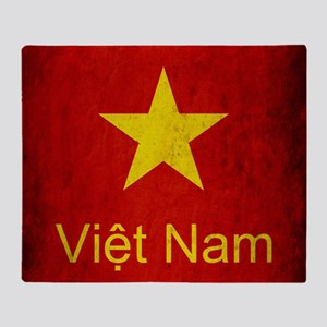 Grunge Vietnam Flag Throw Blanket