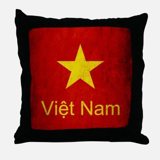 Grunge Vietnam Flag Throw Pillow