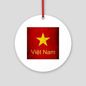 Grunge Vietnam Flag Round Ornament