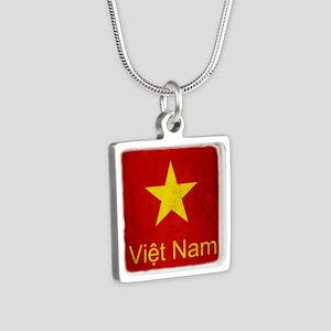 Grunge Vietnam Flag Silver Square Necklace