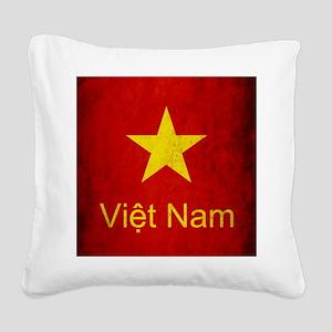 Grunge Vietnam Flag Square Canvas Pillow
