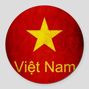 Grunge Vietnam Flag Round Car Magnet