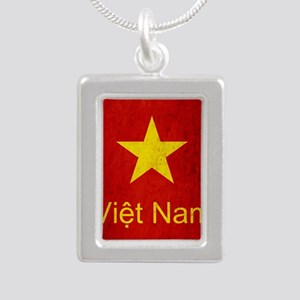 Grunge Vietnam Flag Silver Portrait Necklace