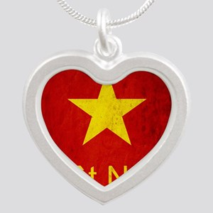 Grunge Vietnam Flag Silver Heart Necklace