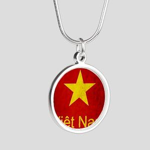 Grunge Vietnam Flag Silver Round Necklace