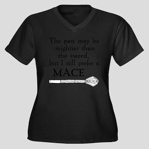 Mace for Lig Women's Plus Size Dark V-Neck T-Shirt