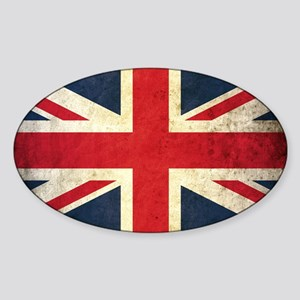 Grunge Union Jack Sticker (Oval)