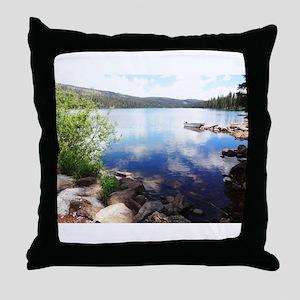 Canoe on the Lake Throw Pillow