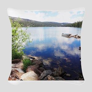 Canoe on the Lake Woven Throw Pillow
