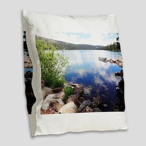 Canoe on the Lake Burlap Throw Pillow