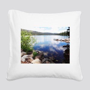 Canoe on the Lake Square Canvas Pillow