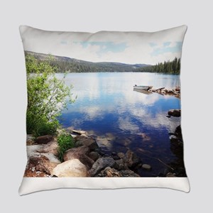 Canoe on the Lake Everyday Pillow