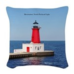 Menominee North Pierhead Light Woven Throw Pillow