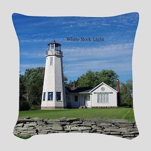 White Rock Light Woven Throw Pillow