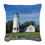 White Rock Light Woven Throw Pillow