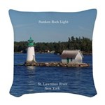 Sunken Rock Light Woven Throw Pillow