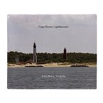 Cape Henry Lighthouses Double Sided Throw Blanket