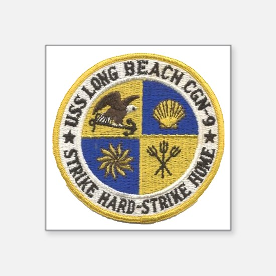 "uss long beach patch transp Square Sticker 3"" x 3"""