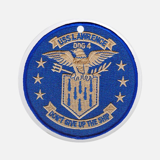 uss lawrence patch transparent Round Ornament