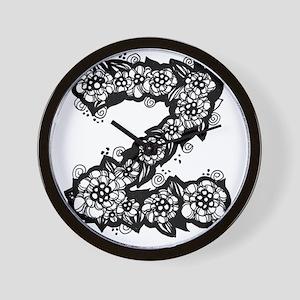 Flower Monogram Z Wall Clock