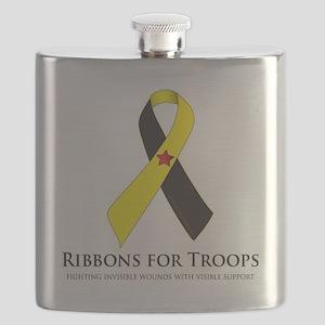 PTSD & TBI Awareness Ribbons Flask