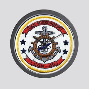 uss mississippi patch transparent Wall Clock