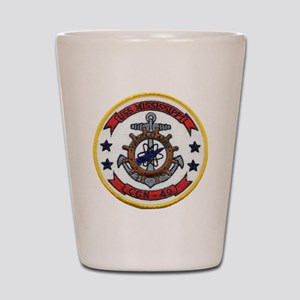 uss mississippi patch transparent Shot Glass