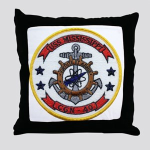 uss mississippi patch transparent Throw Pillow