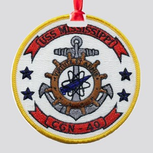 uss mississippi patch transparent Round Ornament
