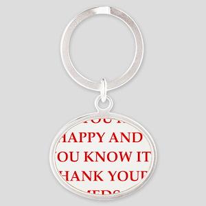 happy Oval Keychain